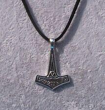 Viking Norse Mythology Mjölnir Thor's Hammer Black Suede Necklace.Handcrafted