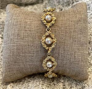"""Fine elegant vintage 14K Yellow solid gold & Pearl link bracelet 7.5"""" 17.5 Gr"""