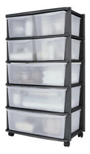 Home 7 Drawer Plastic Wide Tower Chest, 131L Storage Unit