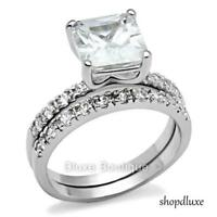Beautiful Princess Cut Stainless Steel CZ Wedding Ring Band Set Women's Sz 5-10