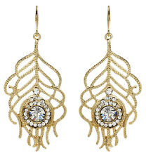 Amrita Singh Gold Crystal Peacock Feather Earrings ERC 5047 NWT