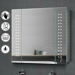 Bathroom Led  Mirror Cabinet With Shaver Socket Sensor Anti Fog Demister Storage