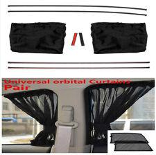 Pair Black Anti-UV Car Side Window Sun Shade Curtains With 4 Tracks Easy To Use
