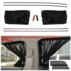 Pair Black Anti-UV Car Side Window Sun Shade Curtains With 4 Tracks Easy To Use