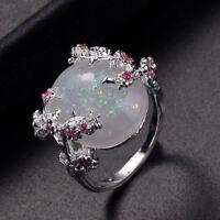 Elegante Silber Plum Flower Feueropal Ringe für Frauen Schmuck großen Stein Ring