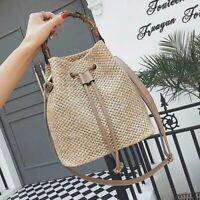 New Summer Beach Women Straw Bag Handmade Bamboo Handle Crossbody Shoulder Bags