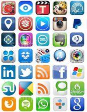 Social Media Apps icons Iphone Eßbar Muffinaufleger Tortenaufleger Party Deko