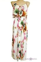 H&M Womens Floral Frill Maxi Dress Beach Flowers Summer Long Size S UK 10-12