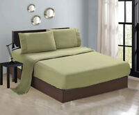 6-PC  Luxury Sage Green Cal King Sheet Set Flat Fitted Pillows New 1300TC