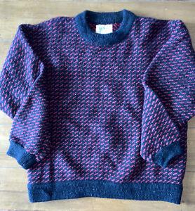 Vtg LL BEAN BIRDSEYE  Norwegian Fisherman Wool Sweater Men's Large L
