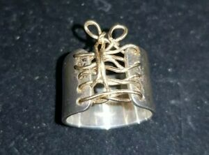 Mini Corset Ring Sterling Silver Tied Up Corset Ring Auralee & Company ring