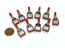 10 RED sleeve CAP SPDT 3 Pins 5v 12v Momentary 6mm Toggle Switch mts1 6a 125v A4