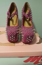Jeffrey Campbell Prickly Spike Studded Wedge Heel Less Sandals Shoes Size 6