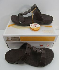 Orthaheel Albany T Strap Slide Sandals Chocolate Size US 6