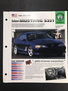 Saleen Mustang S351 Information Brochure muscle Cars Group 4 #6 1984-98