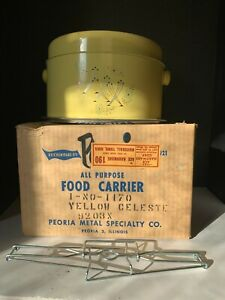 Vintage Yellow Celeste Pie and Cake Carrier by Peoria Metal Specialty Co and Box