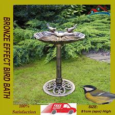 BRONZE EFFECT BIRD BATH POLYRESIN OYSTER SHELL SHAPE TABLE FREESTANDING PEDASTAL