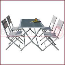 Set Tavolo e 4 Sedie Pieghevoli in Acciaio Arredo Esterno da Giardino Balcone