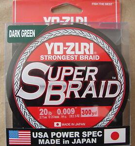 YO-ZURI SUPERBRAID DARK GREEN BRAIDED Fishing Line 20lb 300yd R1266-DG Braid