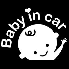 """""""Baby In Car"""" Waving Baby on Board Safety Sign Car Decal / Sticker"""