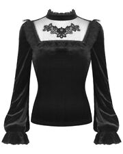 Dark In Love Womens Gothic Top Black Velvet Lace Dot Mesh Steampunk Victorian
