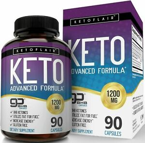 KetoFlair KETO BHB Diet Pills ADVANCED WEIGHT LOSS KETOSIS 1200mg 90 or 180 Caps