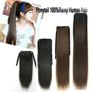 75g One Hairpiece Ponytail Hair Wrap Wire Clip In 100%Real Human Hair Extension