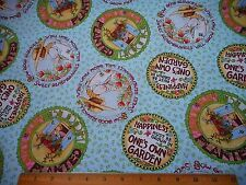 Mary Engelbreit Fabric By The Yard Mottos Vignettes on Lt Blue Quilting Cotton
