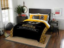Boston Bruins - 3 Pc FULL / QUEEN SIZE Printed Comforter / Sham Set