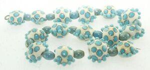 OliveStuart Handmade Lampwork Beads 15 turquoise/cream lentil