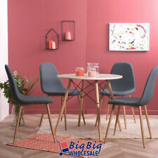 4x Blue Dining Chairs Kitchen Living Room Chair Mid Century Modern w/ Metal Legs