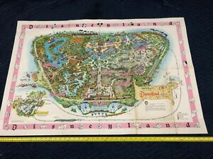 Rare DISNEYLAND 1961 THEME PARK MAP Includes Flying Saucers, Holiday Land & More