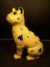 ANTIQUE GALLE FAIENCE MODEL OF A FRENCH BULLDOG