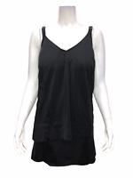 Denim & Co. Women's Beach Hi-Low Tankini Swimsuit with Skirt Black 26W Plus Size