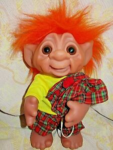 """1985 DAM Troll Doll Made in Denmark Pose-able 9"""" Tall  Irish Outfit!"""