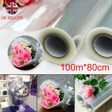 Hot 100mX80cm Wide Plain Clear Florist Craft Cellophane Roll Film Wrap Hamper UK