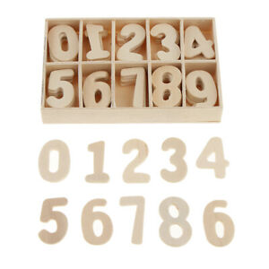 60Pcs(6 Set) Wooden Number Unpainted 0-9 for DIY Craft kIDS Education Learning