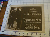 Original MOVIE: 1919 E.K. LINCOLN in VIRTUOUS MEN dir by Ralph Ince LOBBY CARD