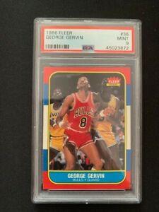 NBA FLEER 1986   PSA GRADED 9 - MINT   GEORGE GERVIN #36