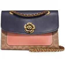 New coach signature colorblock pocket parker shoulder bag tan peach gold 69586