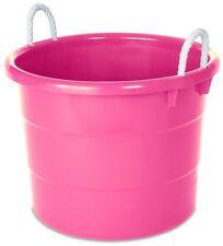 4-Pack Pink Plastic Tub Rope Handle Bucket Bin Large Home Toy Organizer Storage