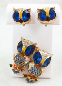 VINTAGE ADOLPH KATZ HOOTS CORO DUETTE BLUE OWL FUR CLIP / BROOCH / SB EARRINGS