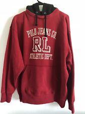 VTG. POLO JEANS CO RALPH LAUREN ATHLETE DEPT Mens Red Pullover Hooded Sweater L
