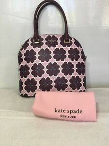 NWT Kate Spade Sylvia Graphic Clover Crossbody Dustbag Purple Large Dome Satchel
