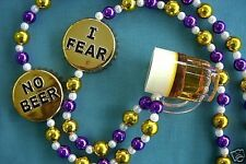 "Cool ""I Fear. No Beer"" Mardi Gras Necklace Bead Pitcher Mug Caps Draft (B257)"