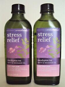2 Bath and Body Works Aromatherapy EUCALYPTUS TEA Bath & Massage Oil x2 NEW!!