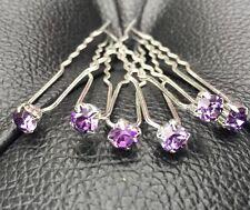 6 mariage bal cristal violet strass épingles à cheveux clips grips