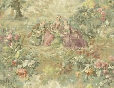 Wallpaper Designer Traditional French Scenic Toile Plum Green Pink Blue Tan