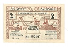 New Caledonia  - Two (2) Francs, 1942 !!Low Serial!!