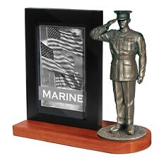 MD102W Marine Dress Blues Statue W/Photo Frame and Cherry Wood Base - Khaki Army